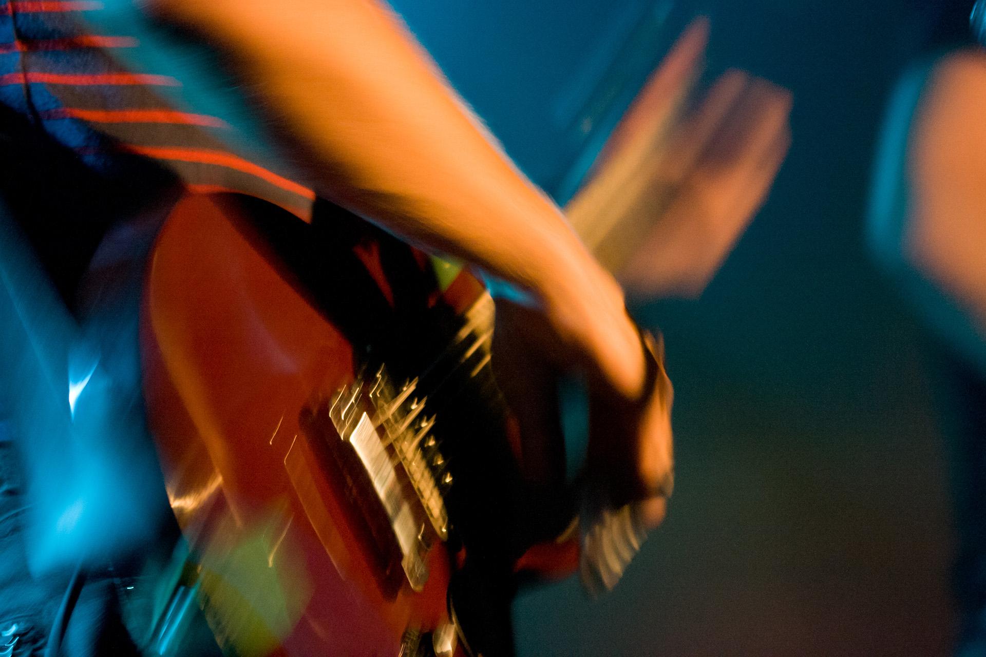 A guitarist plays his guitar in Melbourne, Australia